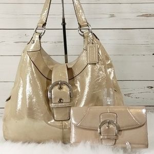 Coach metallic gold bag with matching wallet